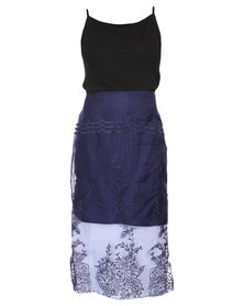 Linx  Wilna Skirt In Cutwork Organza Blue