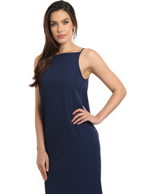 Linx Ellerdale Ruffle Back Midi Dress Navy Blue