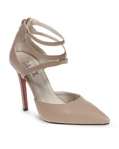 Linx Pointy Ankle Strap Heels Nude
