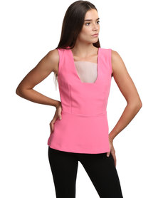 Linx Fowler Top with Sheer Insert Pink