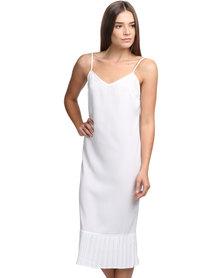 Linx Harton Pleated Hem Slip Dress Cream