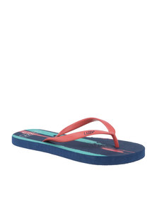 Lizzy Swoosh Flip Flop Coral/Multi