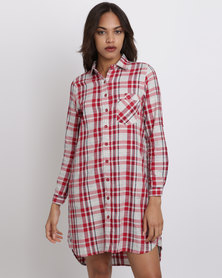 London Hub Fashion Long Length Check Shirt Red