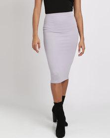 London Hub Fashion Mini Ribbed Skirt Purple