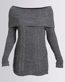 London Hub Fashion Bardot Off The Shoulder Knitted Top Charcoal