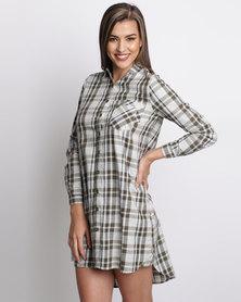 London Hub Fashion Long Length Check Shirt Khaki