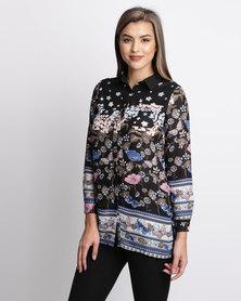 London Hub Fashion Printed Shirt With Border Black Print