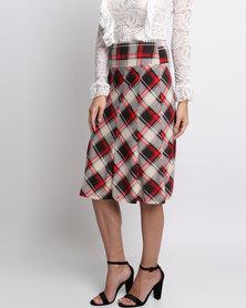 London Hub Fashion Check Skirt Red