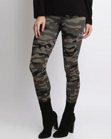 London Hub Fashion Camouflage Print Leggings Black