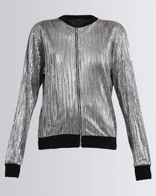 London Hub Fashion Foil Bomber Jacket Silver