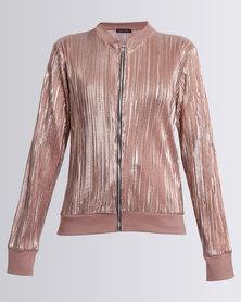 London Hub Fashion Foil Bomber Jacket Rose