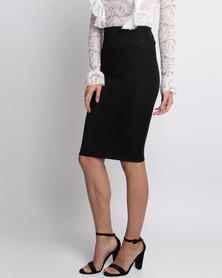 London Hub Fashion Midi Ribbed Skirt Black