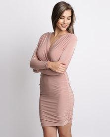 London Hub Fashion V Wrap Ruched Slinky Dress Nude