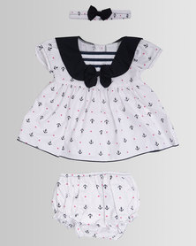 London Hub Fashion Baby Anchor Dress White
