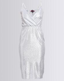 London Hub Fashion Metallic Lurex Wrap Dress Silver