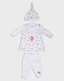 London Hub Fashion Floral Printed Baby Set Pink