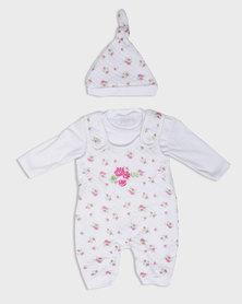 London Hub Fashion Floral Printed Babygrow Set Pink