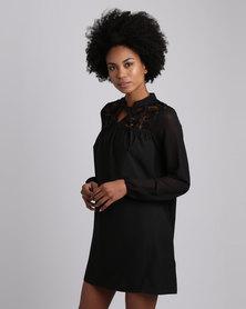 London Hub Fashion Chiffon Sleeve Lace Tie Neck Smock Dress Black