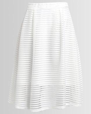 London Fashion Hub Stripe Mesh Skater Skirt Ivory