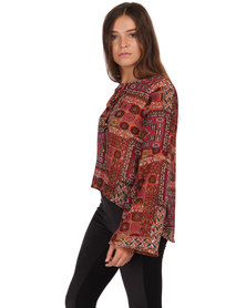 London Hub Fashion Printed Top Multi