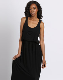London Hub Fashion Viscose Bubble Top Maxi Dress Royal Black