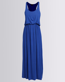 London Hub Fashion Viscose Bubble Top Maxi Dress Royal Blue