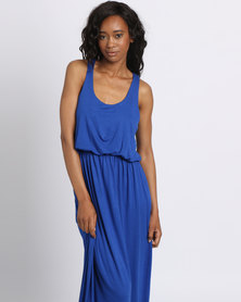 London Hub Fashion Viscose Bubble Top Maxi Dress Royal Blue
