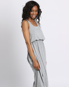 London Hub Fashion Viscose Bubble Top Maxi Dress Grey