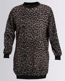 London Hub Fashion Leopard Print Round Neck Jumper Dress With Pockets