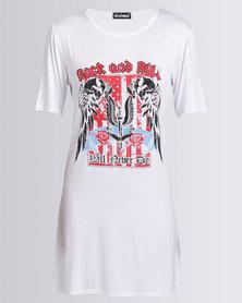 London Hub Fashion Rock & Roll Printed Shirt Dress White