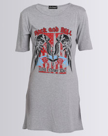 London Hub Fashion Rock & Roll Printed Shirt Dress Grey