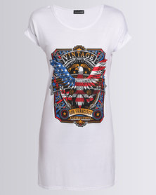 London Hub Fashion Vintage Slogan Eagle Printed Shirt Dress White