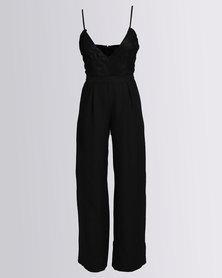 London Hub Fashion Lace Detail Jumpsuit Flared Trousers Black