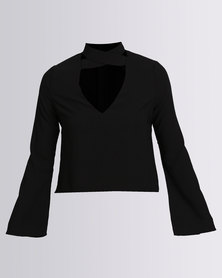 London Hub Fashion Flared Sleeve Blouse Black