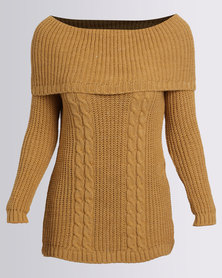 London Hub Fashion Bardot Off The Shoulder Knitted Top Mustard