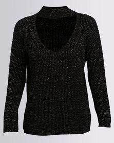 London Hub Fashion Choker V Neck Glitter Jumper Black