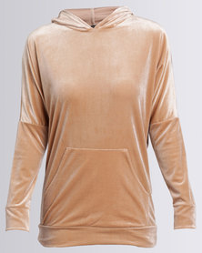 London Hub Fashion Velour Hoody With Front Pockets Champagne