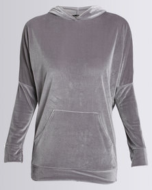 London Hub Fashion Velour Hoody With Front Pockets Grey