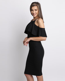 London Hub Fashion Off Shoulder Frill Dress Black