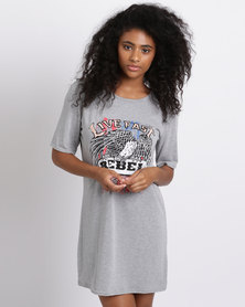 London Hub Fashion Live Fast Printed Shirt Dress Grey