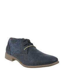 Luciano Rossi Casual Lace Up Ankle Boots Navy/Beige
