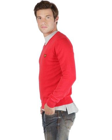 Lyle & Scott Men's Plain Pullover Top Red