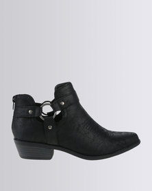 Madison Samantha Strapped Ankle Boot Black