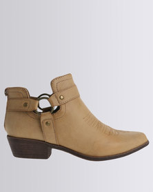 Madison Samantha Strapped Ankle Boot Tan