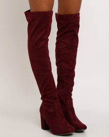 Madison Stephanie Over The Knee Boot Burgundy