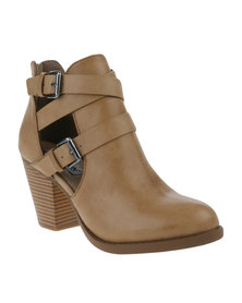 Madison Lacey Heeled Boot Taupe