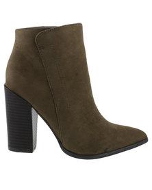 Madison Jennifer Heeled Boot Olive