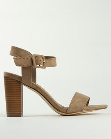 Madison Melantha Block Heel Sandals Taupe