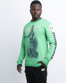 Magents Shaka Zulu Printed Crew Neck Sweater Green