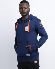 Magents Badges Pull-Over Hoodie Navy